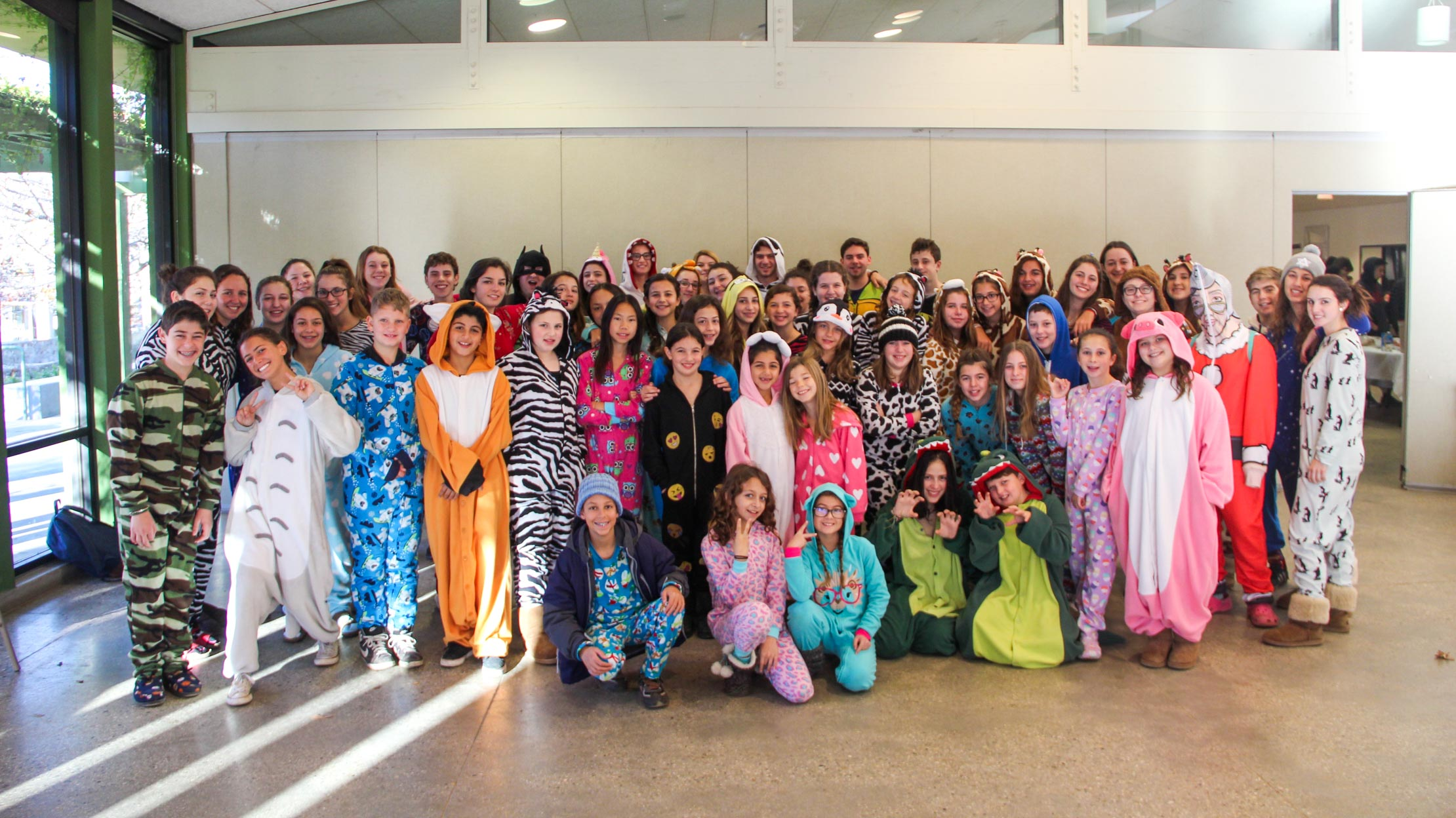 Campers in pajamas for winter camp